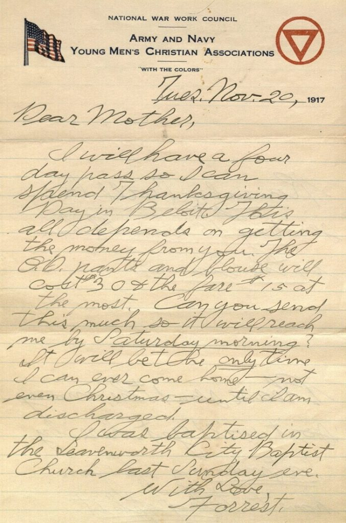 Image of Forrest W. Bassett's letter to Ava Marie Shaw, November 20, 1917