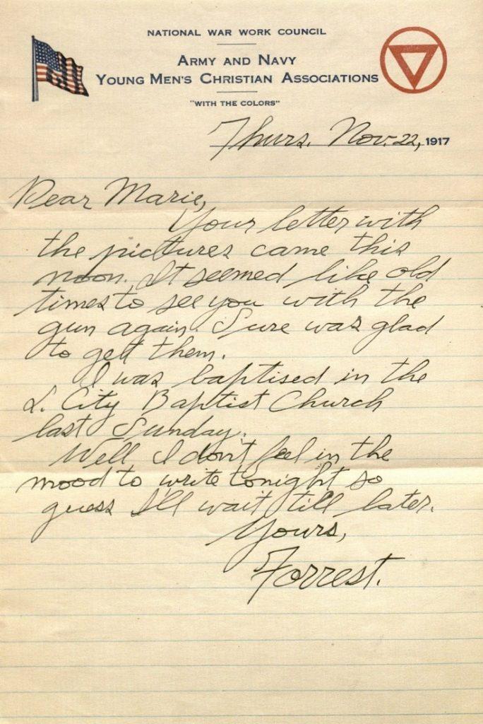 Image of Forrest W. Bassett's letter to Ava Marie Shaw, November 22, 1917