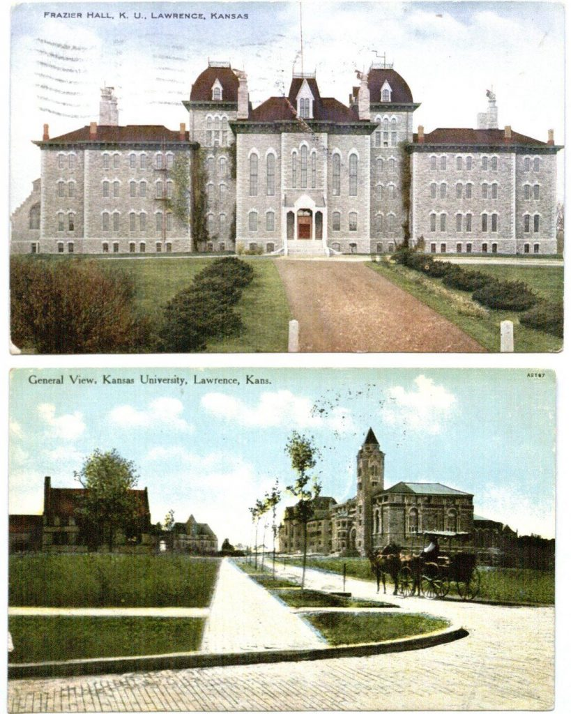 Image of a color postcards of Frazier Hall (1909) and a general view of campus (1910), University of Kansas