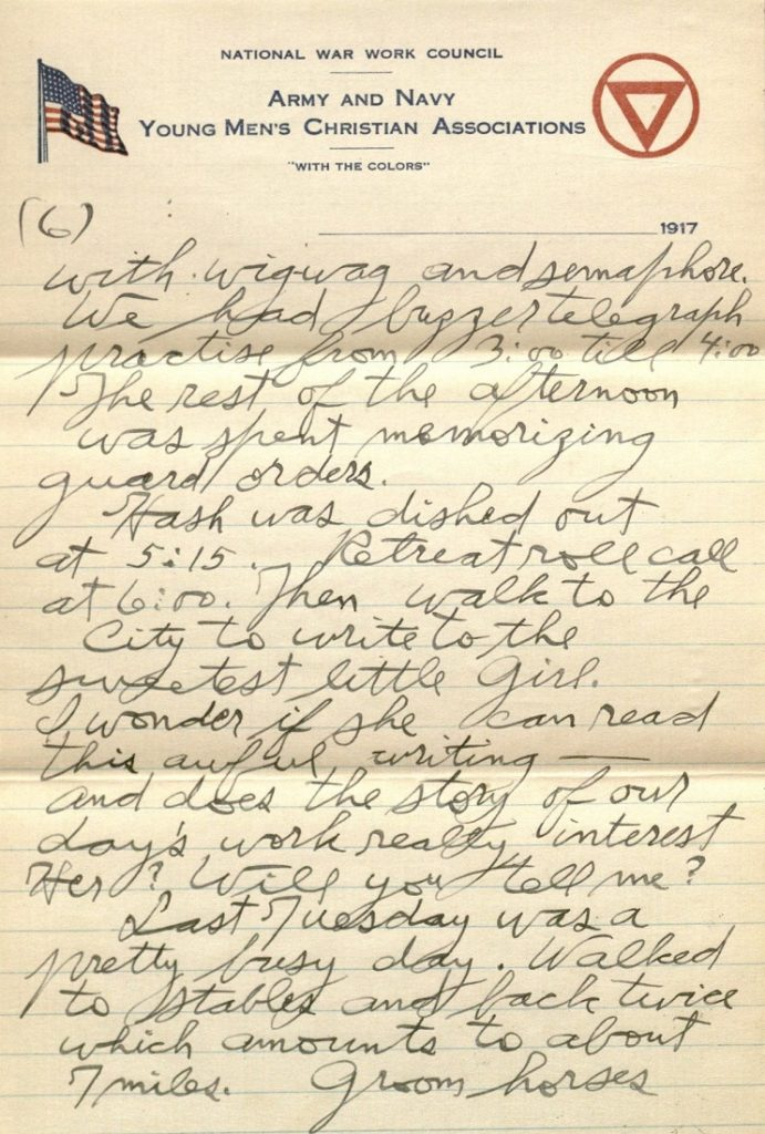Image of Forrest W. Bassett's letter to Ava Marie Shaw, December 6, 1917