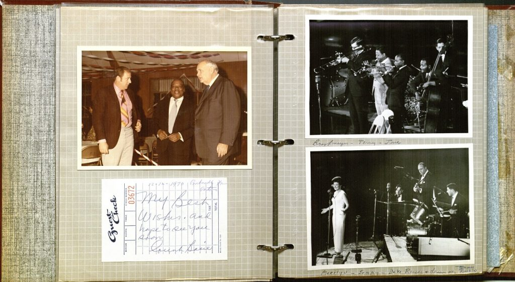 Photograph of an opening showing an autograph and photo of Count Basie in vol. 1 of the Chesterman C. Linley jazz scrapbooks