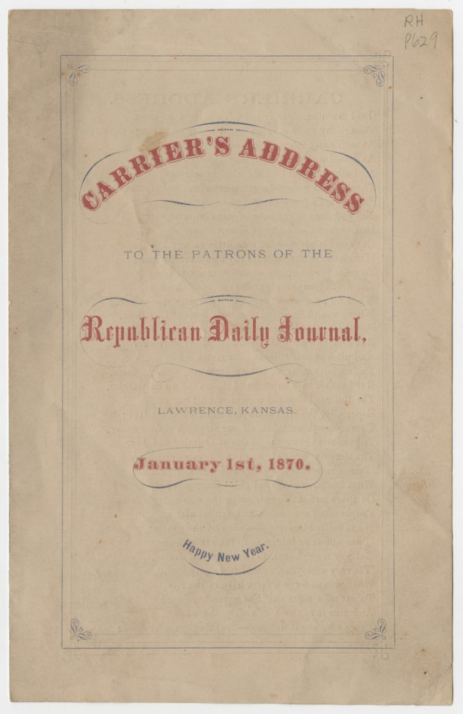 Image of a Carrier's Address to the Patrons of the Republican Daily Journal, 1870