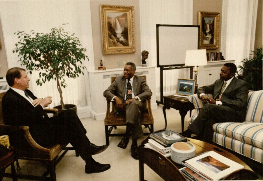 Photograph of Delano Lewis with Al Gore, 1997