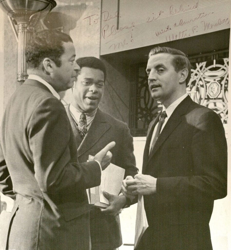 Photograph of Delano Lewis with Senator Edward Brooke and Vice President Walter Mondale, undated