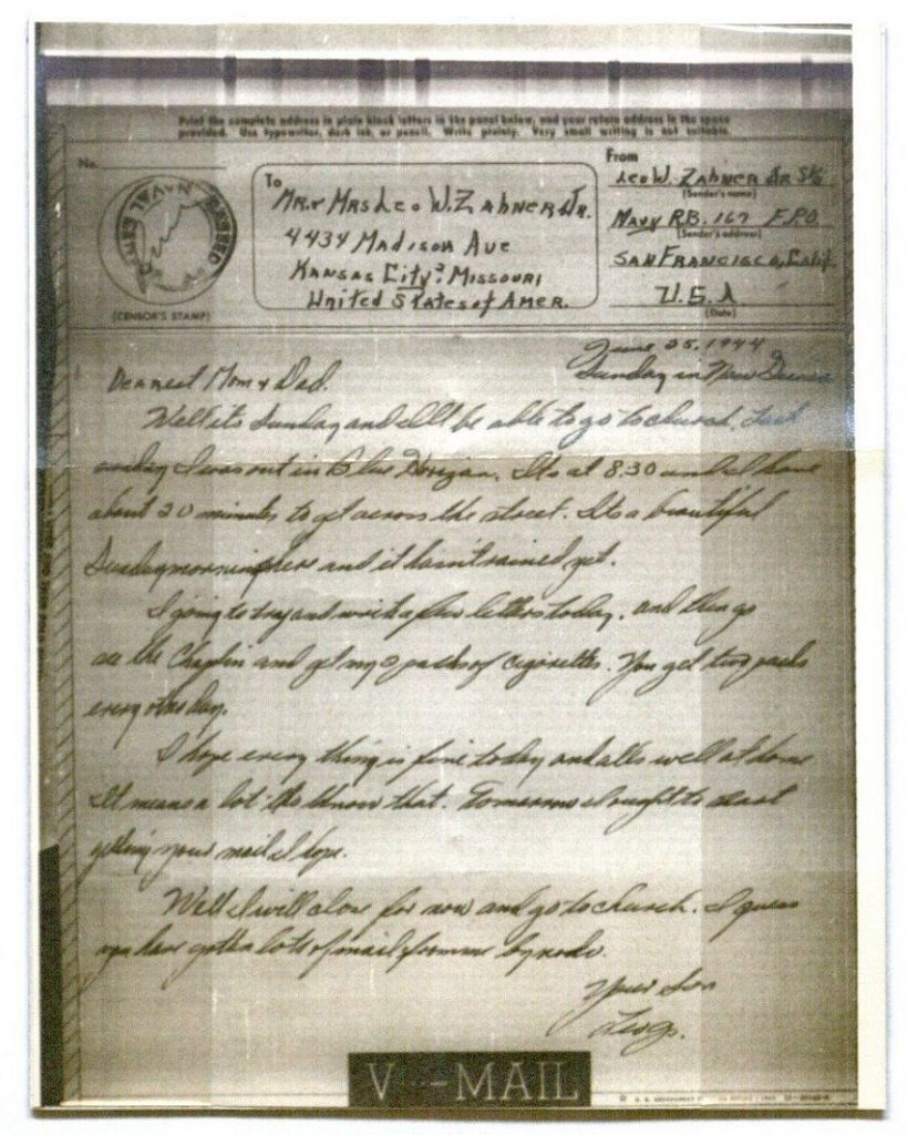 Image of a V-Mail letter from Leo William Zahner, Jr., June 25, 1944