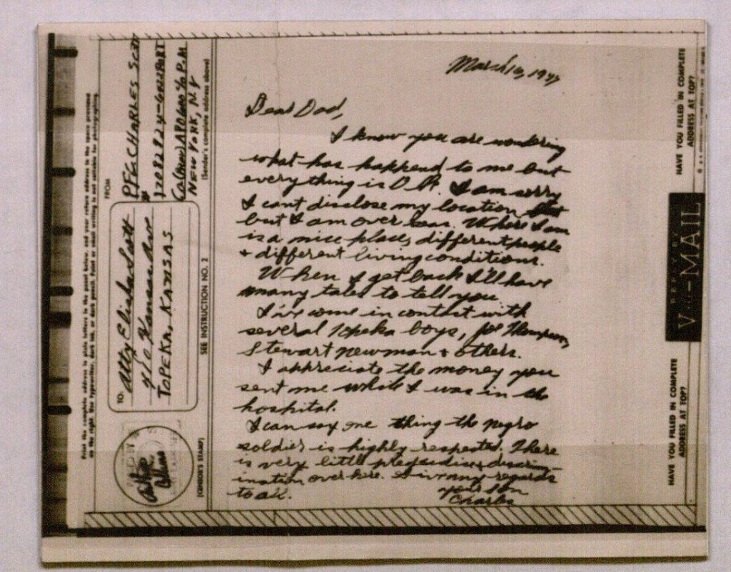 Image of a V-Mail letter from Charles S. Scott, March 16, 1944