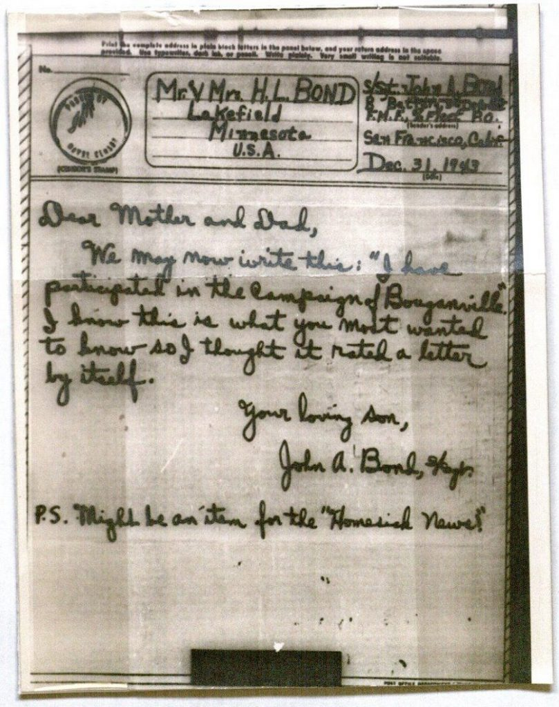 Image of a V-Mail letter from John Avery Bond, December 31, 1943