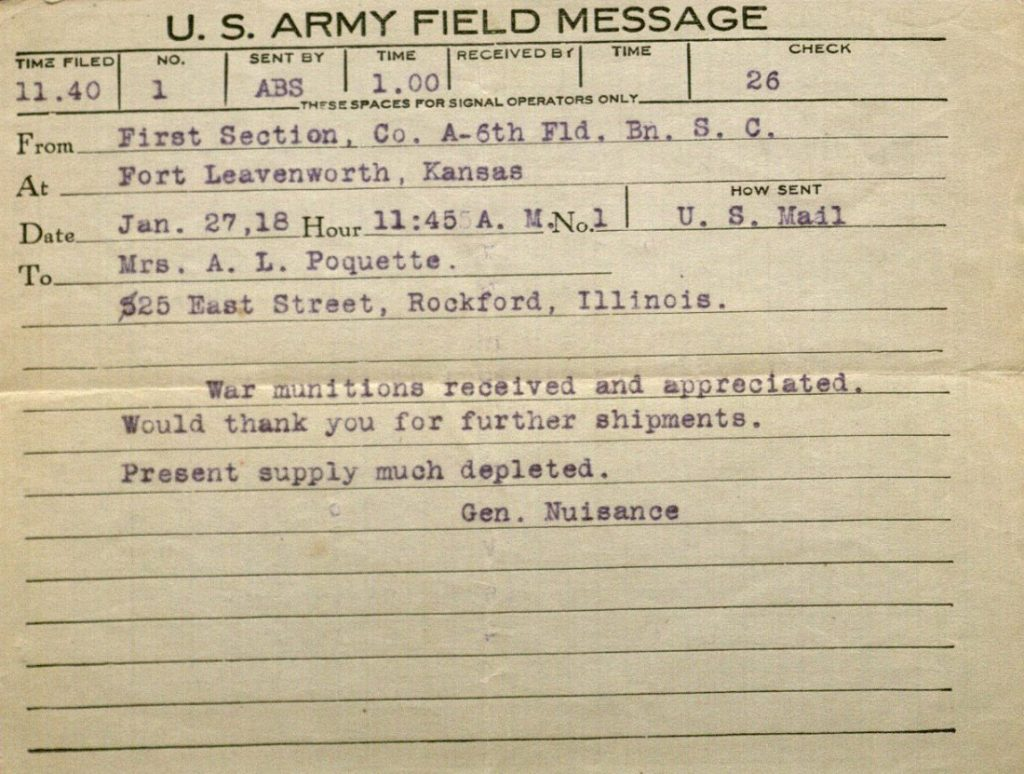 Image of Forrest W. Bassett's field message to sister Blanche Treadway Poquette, January 27, 1918