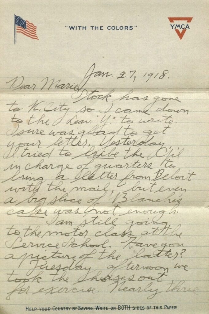 Image of Forrest W. Bassett's letter to Ava Marie Shaw, January 27, 1918