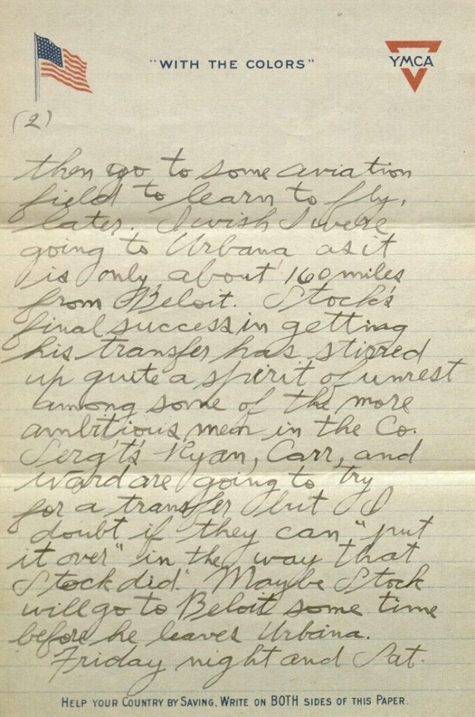 Image of Forrest W. Bassett's letter to Ava Marie Shaw, February 3, 1918