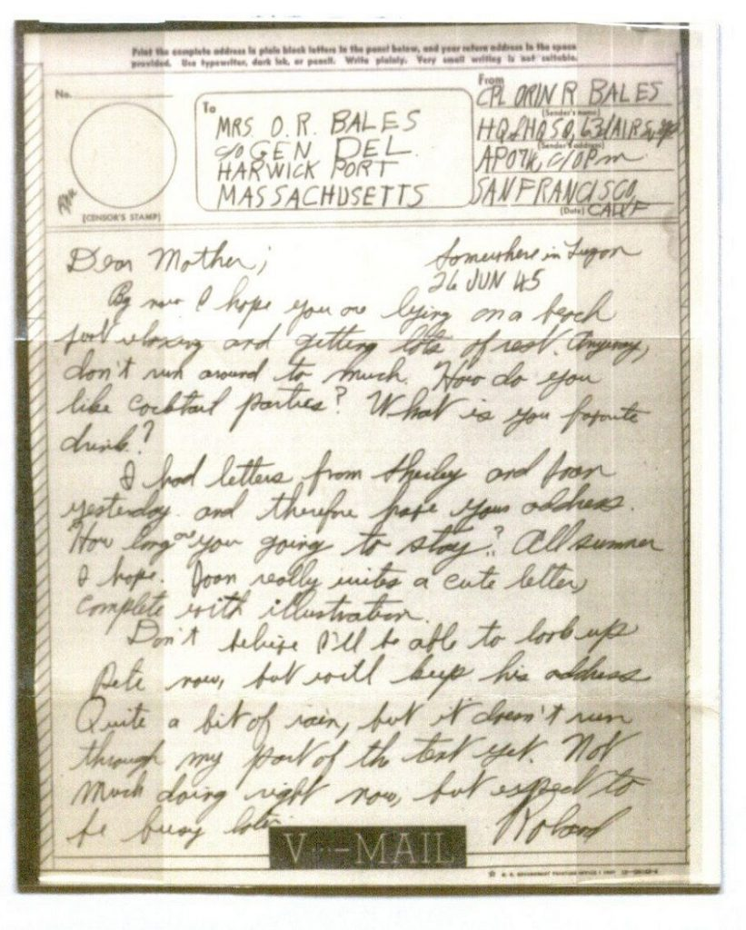 Image of a V-Mail letter from Orin Roland Bales, June 26, 1945