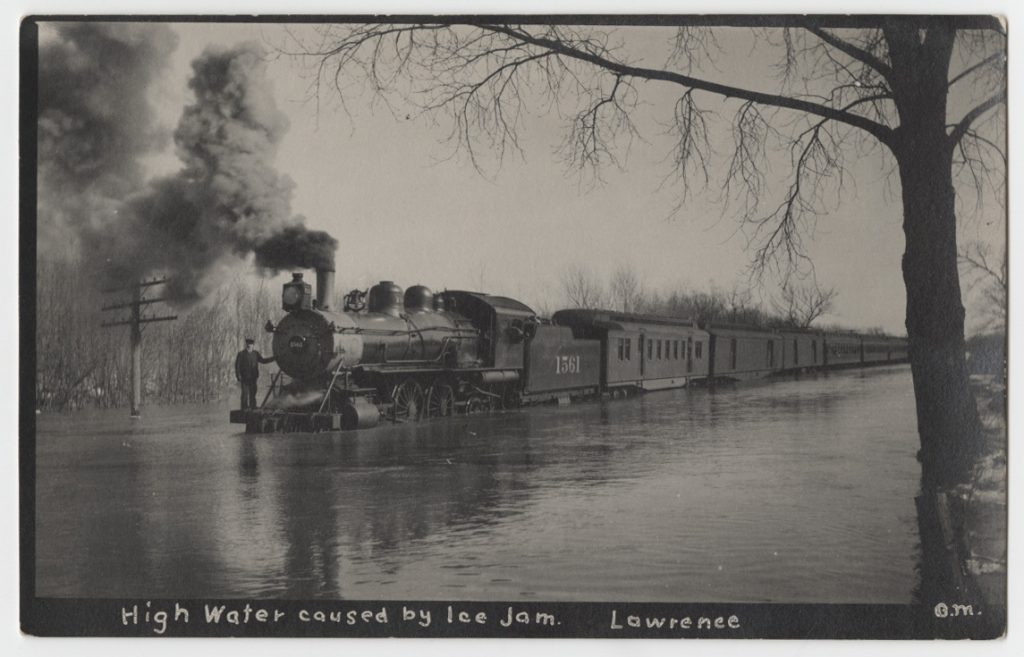 Postcard showing high water caused by an ice jam, Lawrence, Kansas, 1910