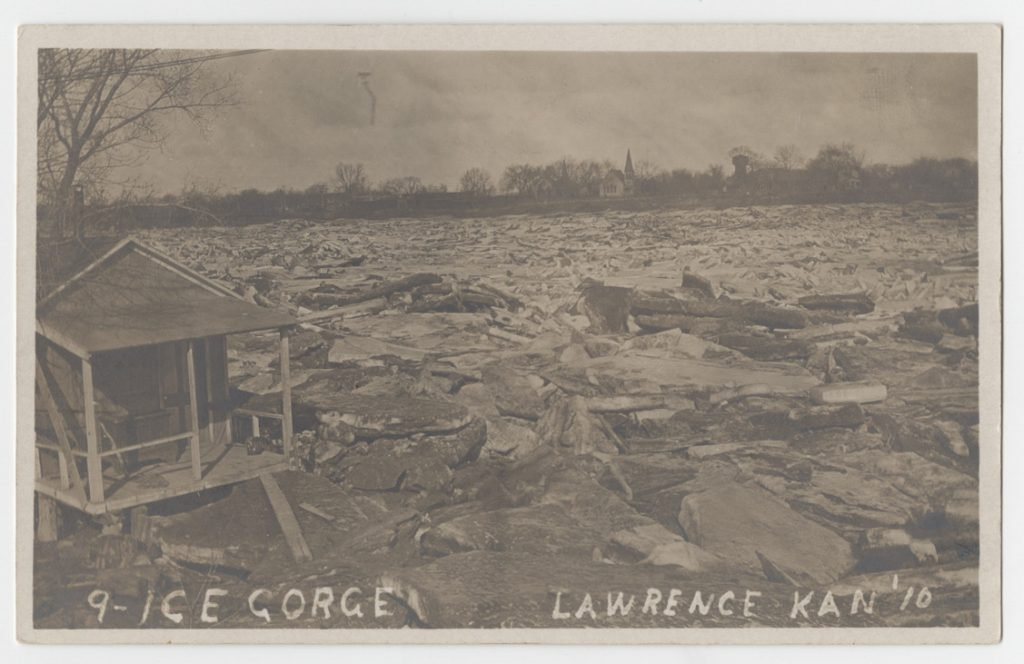Postcard showing an ice gorge at Lawrence, Kansas, 1910