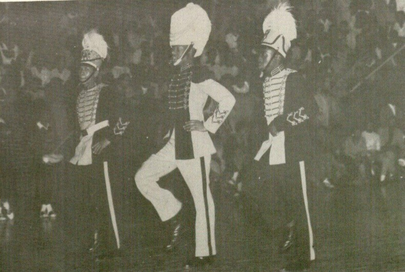 Photograph of Delano Lewis, Drum Major, Sumner High School, 1956