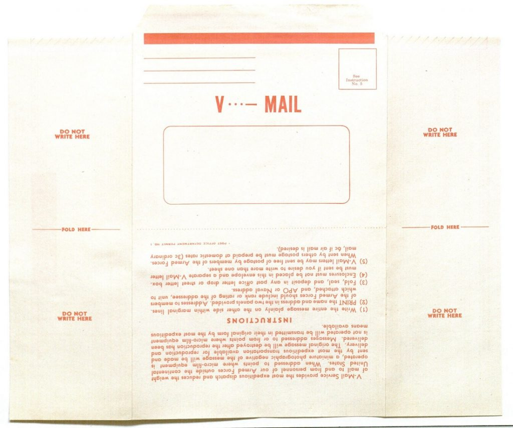 Image of a blank v-mail sheet, undated