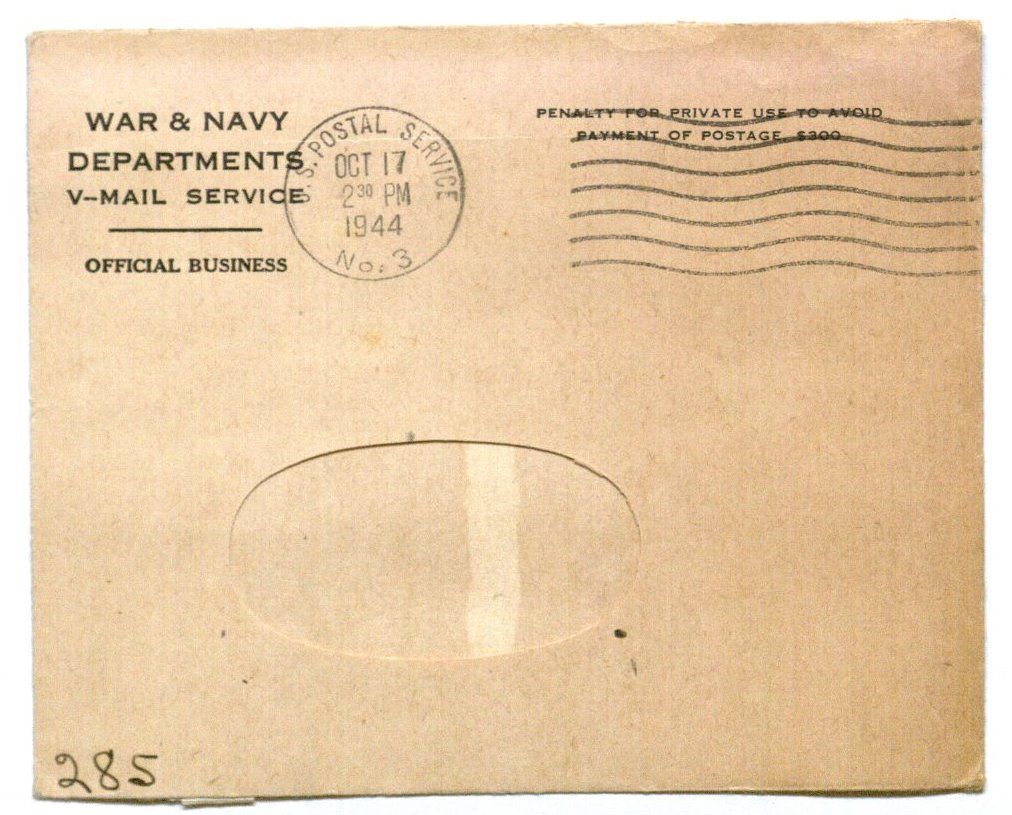 Image of a Blank v-mail envelope, undated.