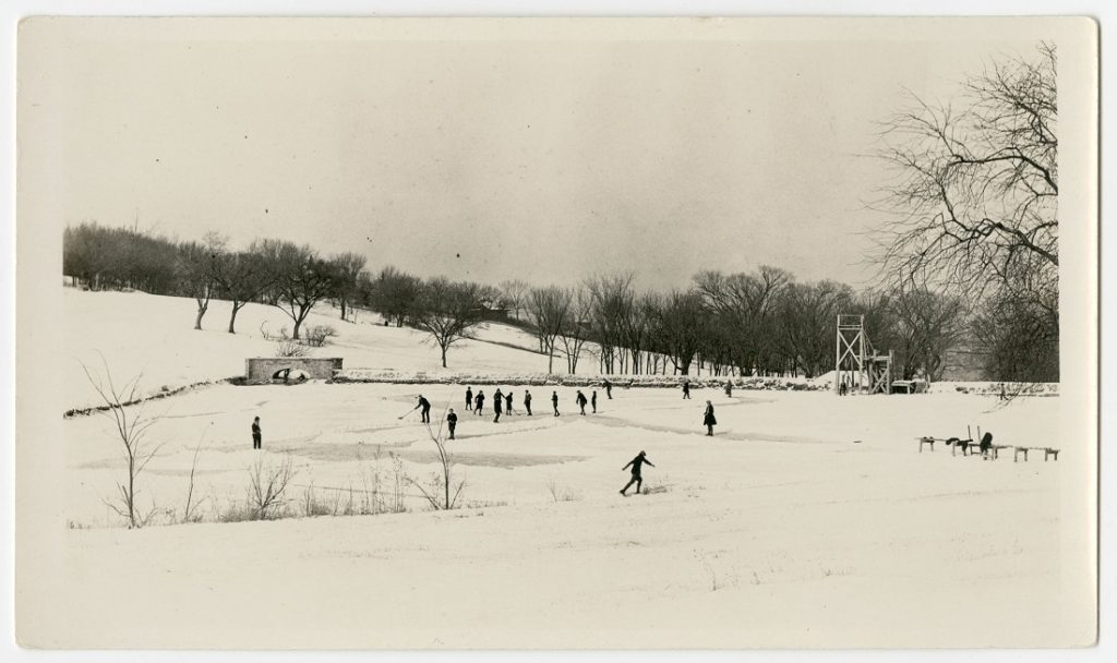 Photograph of people ice skating on Potter Lake, 1926