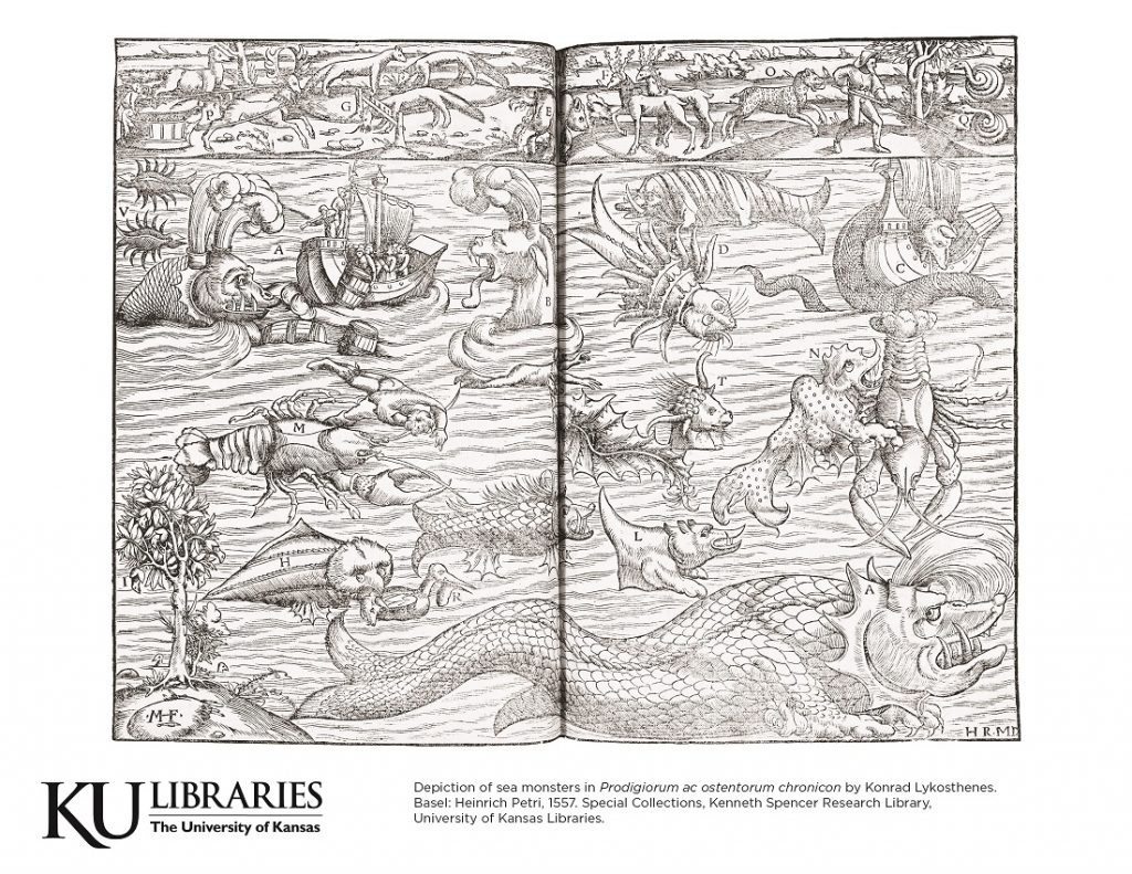Sea monster image in the KU Libraries coloring book, 2018