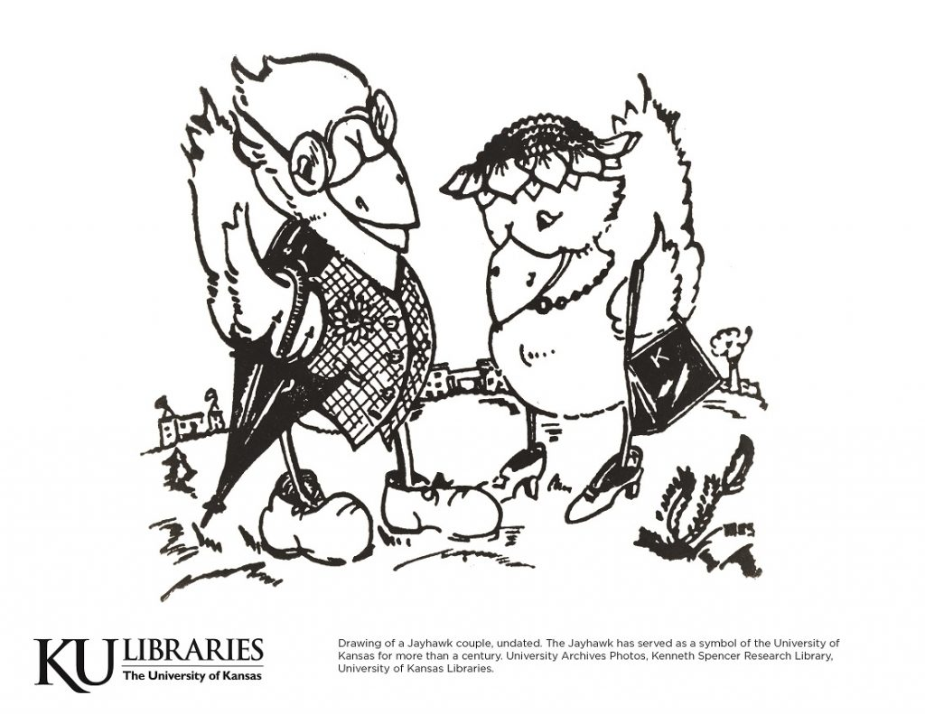 Jayhawk couple image in the KU Libraries coloring book, 2018