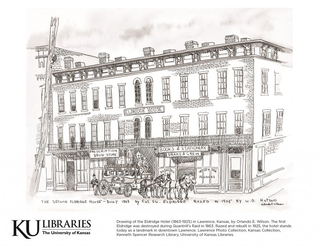 Eldridge Hotel image in the KU Libraries coloring book, 2018