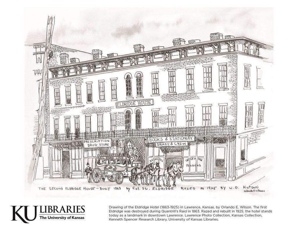 Eldridge Hotel image in the KU Libraries coloring book, 2018