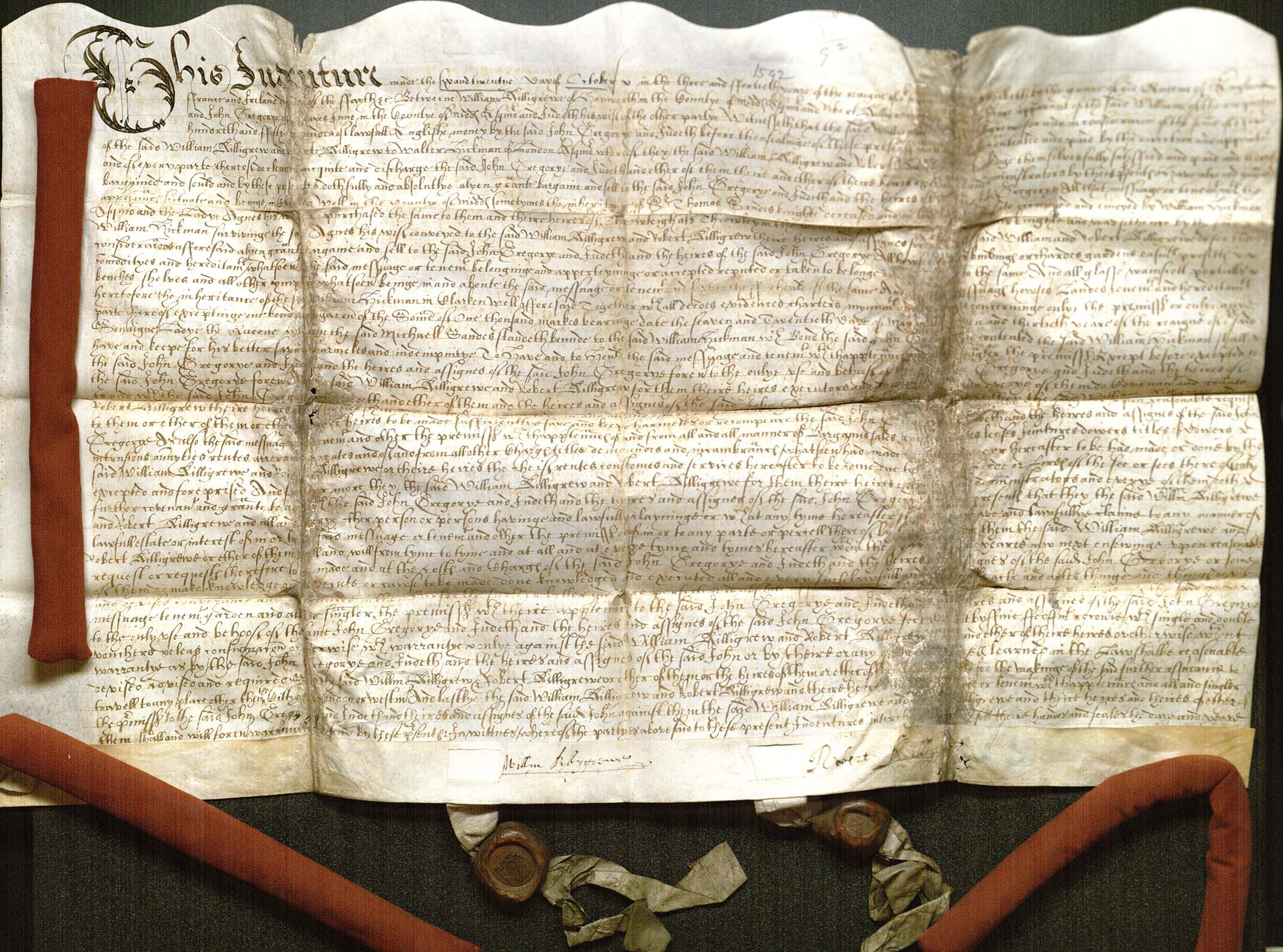 Deed of covenant by William Killigrew and his son, Robert, agreeing to sell a messuage (dwelling house, outbuildings, and land) in Clerkenwell Parish, Middlesex to John Gregorye and his wife, Judith.