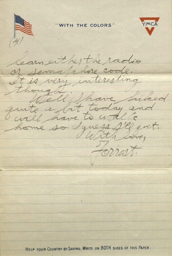 Image of Forrest W. Bassett's letter to Ava Marie Shaw, February 8, 1918