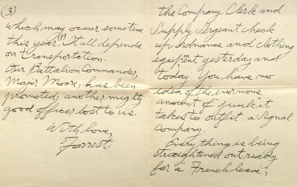 Image of Forrest W. Bassett's letter to Ava Marie Shaw, February 14, 1918