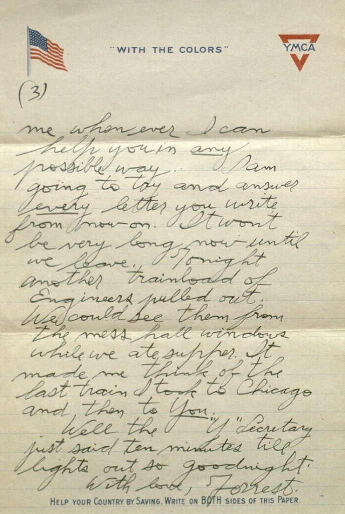 Image of Forrest W. Bassett's letter to Ava Marie Shaw, February 25, 1918