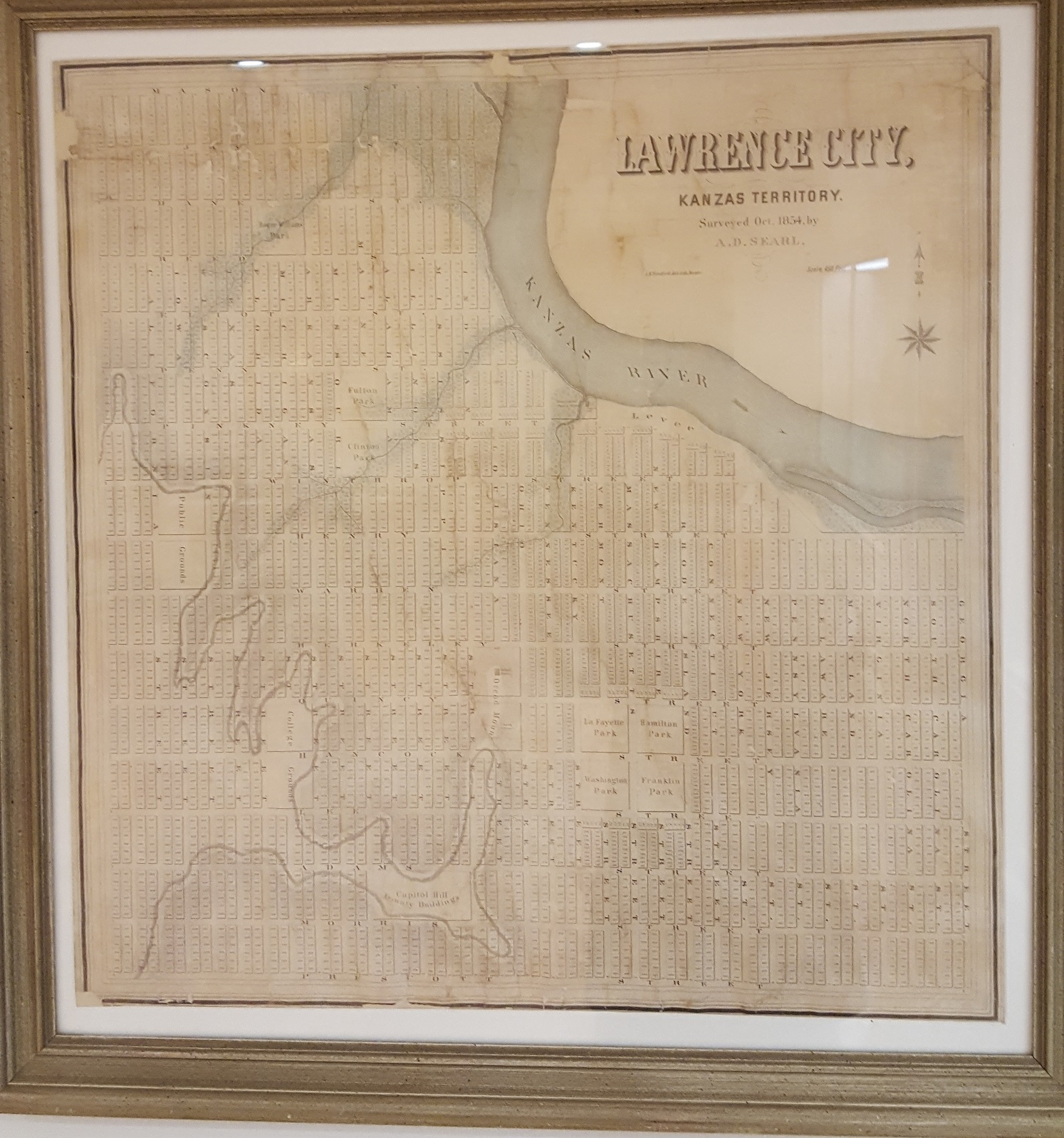 Picture of the 1854 SearleMap of Lawrence housed in the Spencer Research Library Lobby