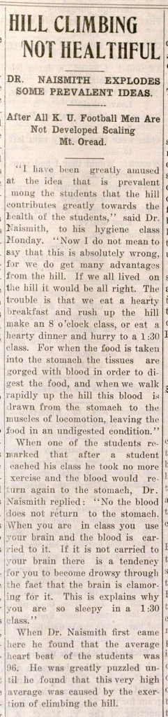 "Image of a Daily Kansan article, ""Hill Climbing Not Healthful,"" January 25, 1910"