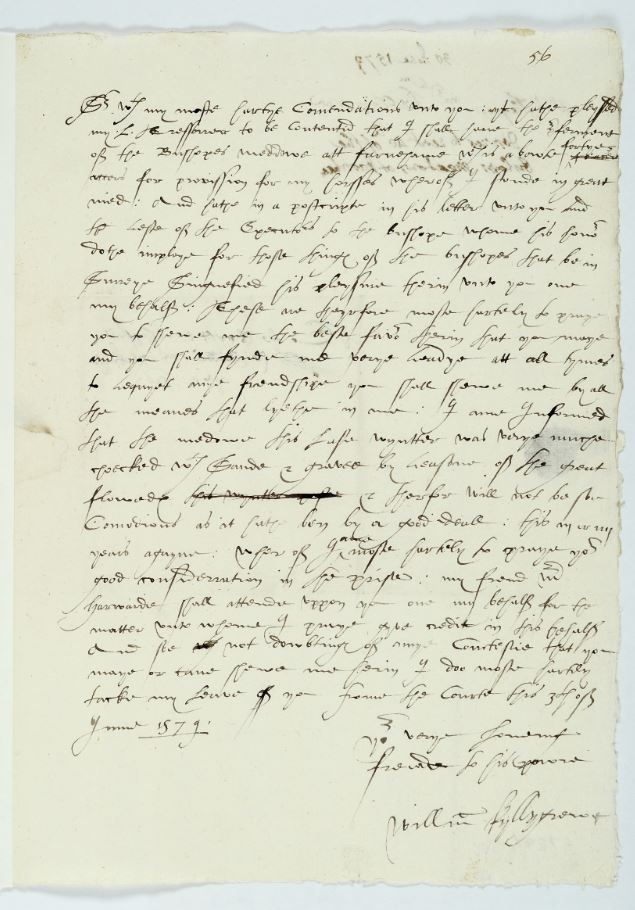 Letter from William Killigrew to Sir William Moore, 3 June 1579
