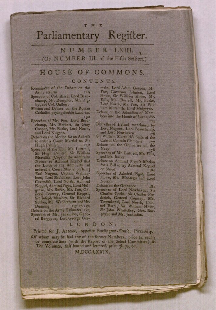 Image of the cover of the Parliamentary Register, 1779