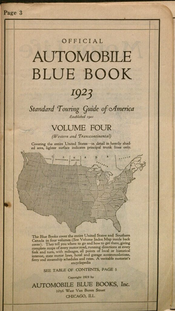 Image of the title page of the Official Automobile Blue Book, Volume 4, 1923