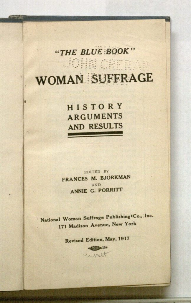Image of the title page of Woman Suffrage: History, Arguments, and Results, 1917