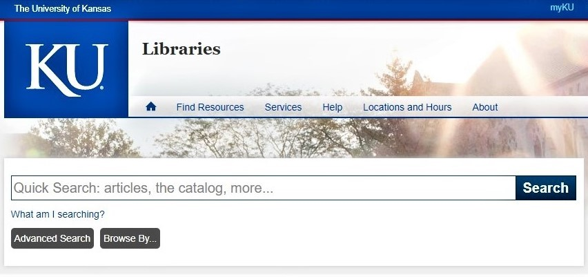 Screenshot of the Primo search box on the KU Libraries homepage