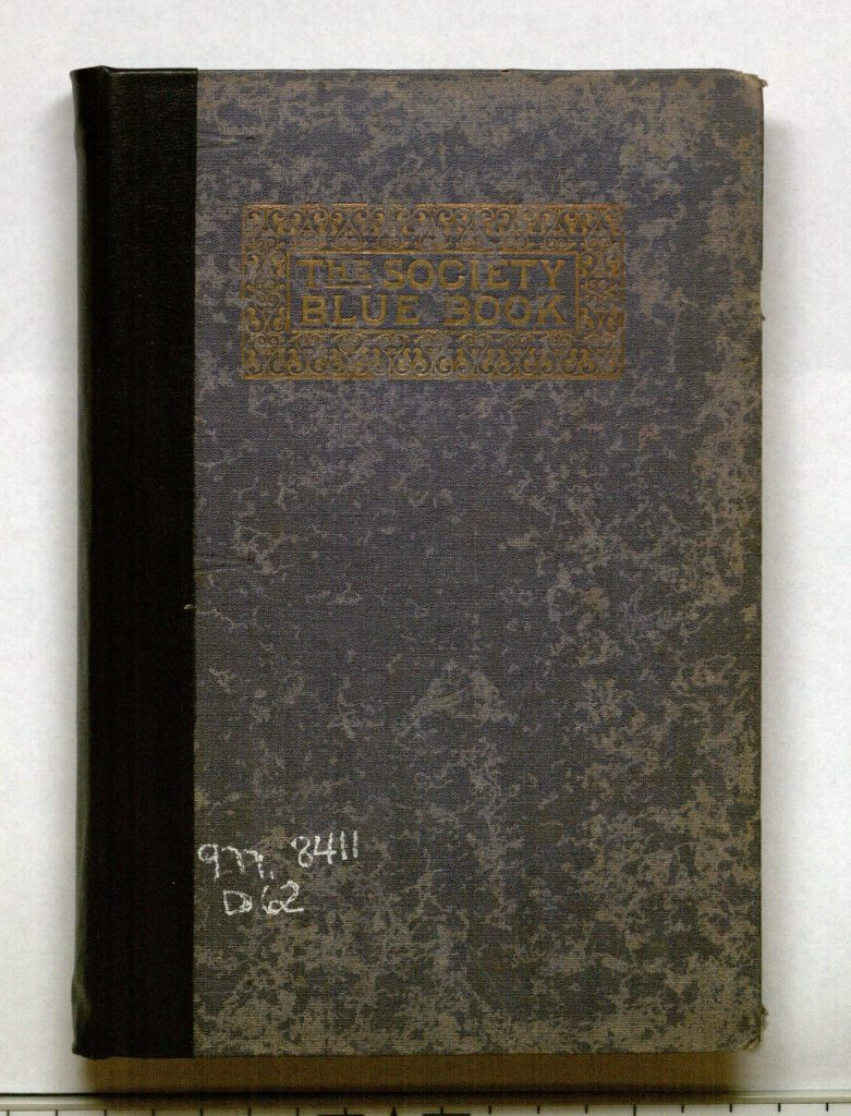 Image of the cover of The Society Blue Book of Kansas City, Mo., 1898