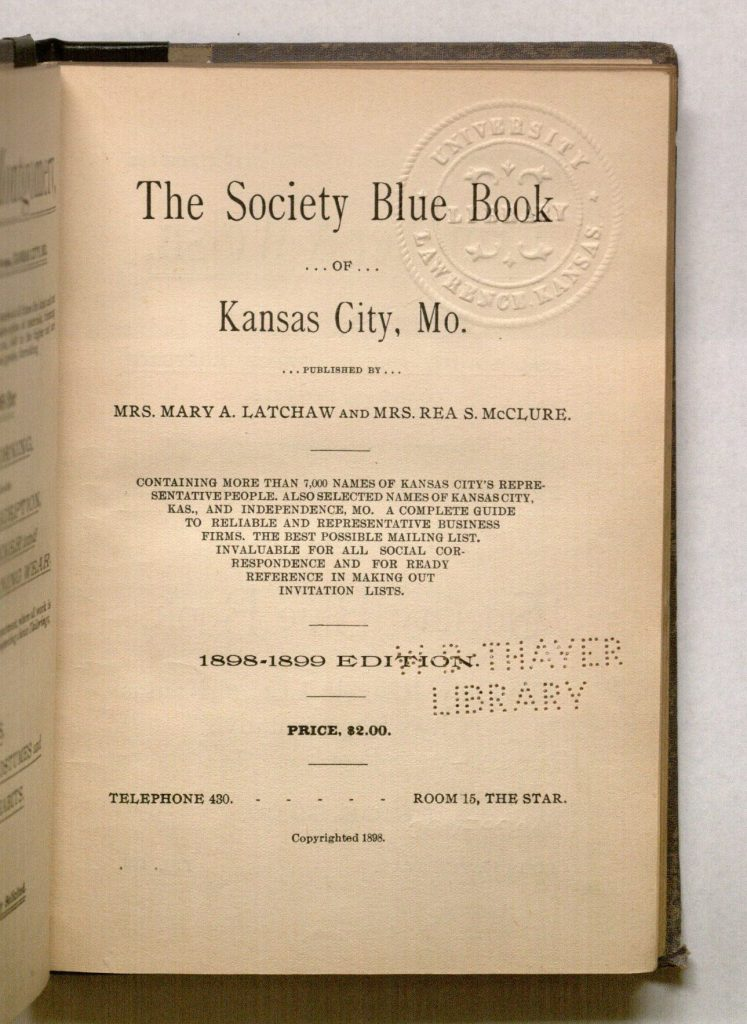Image of the title page of The Society Blue Book of Kansas City, Mo., 1898