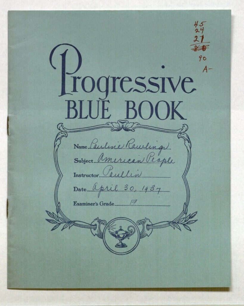 Image of the cover of a blue book from the Ellen Cowell School Papers, 1937