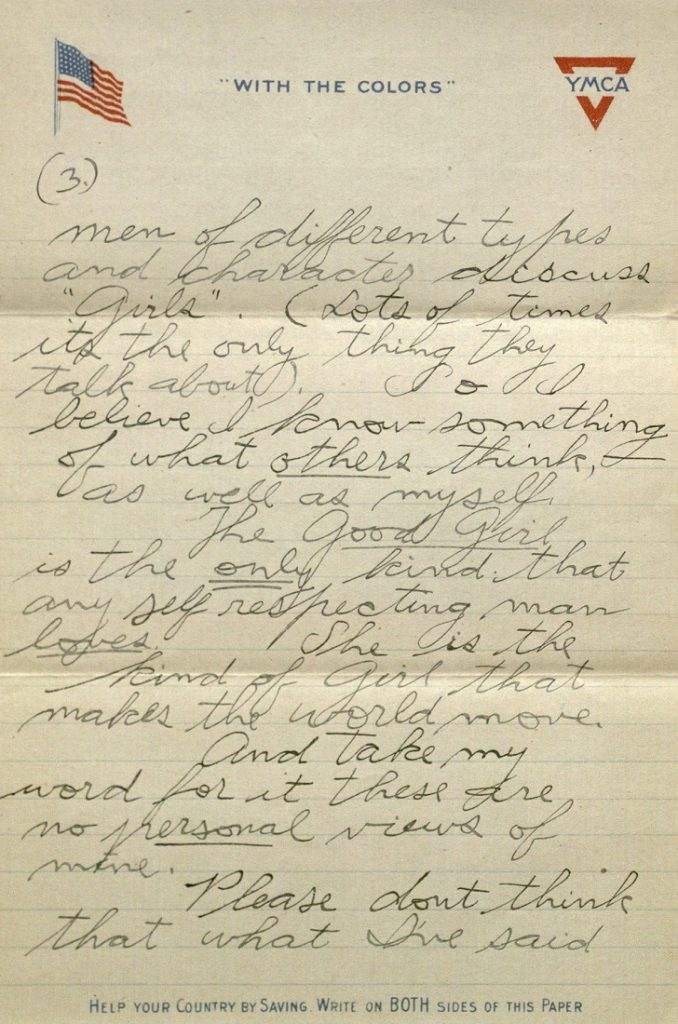 Image of Forrest W. Bassett's letter to Ava Marie Shaw, March 21, 1918
