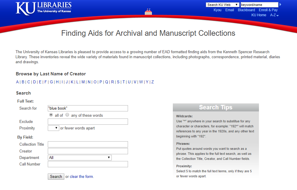 Screenshot of the Spencer Research Library finding aid search page