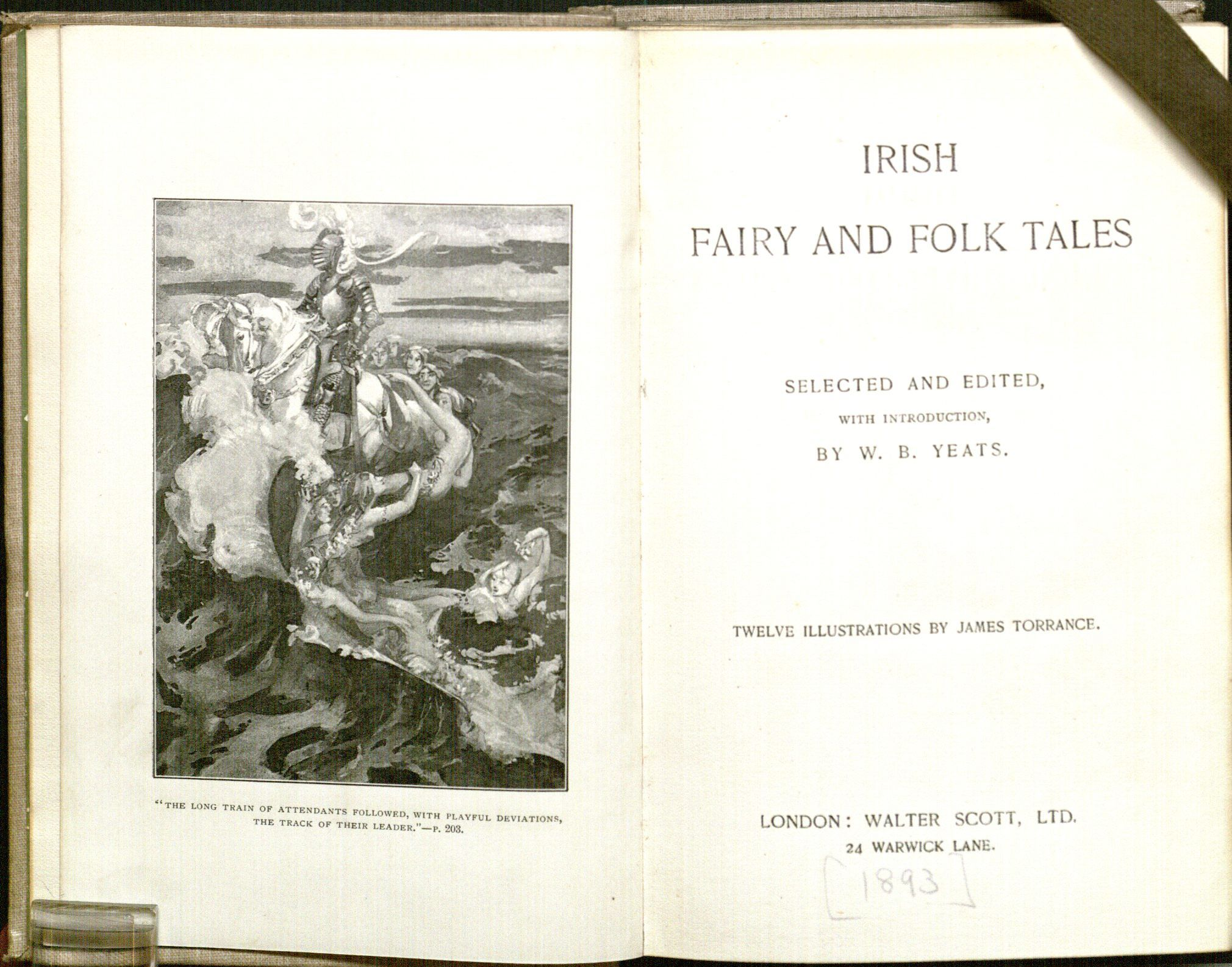 Frontispiece and title page of W. B. Yeats' Irish Fairy and Folk Tales (1893), an editon of his 1888 Fairy and Folk Tales of the Irish Peasantry, with 12 illustsrations by James Torrance.