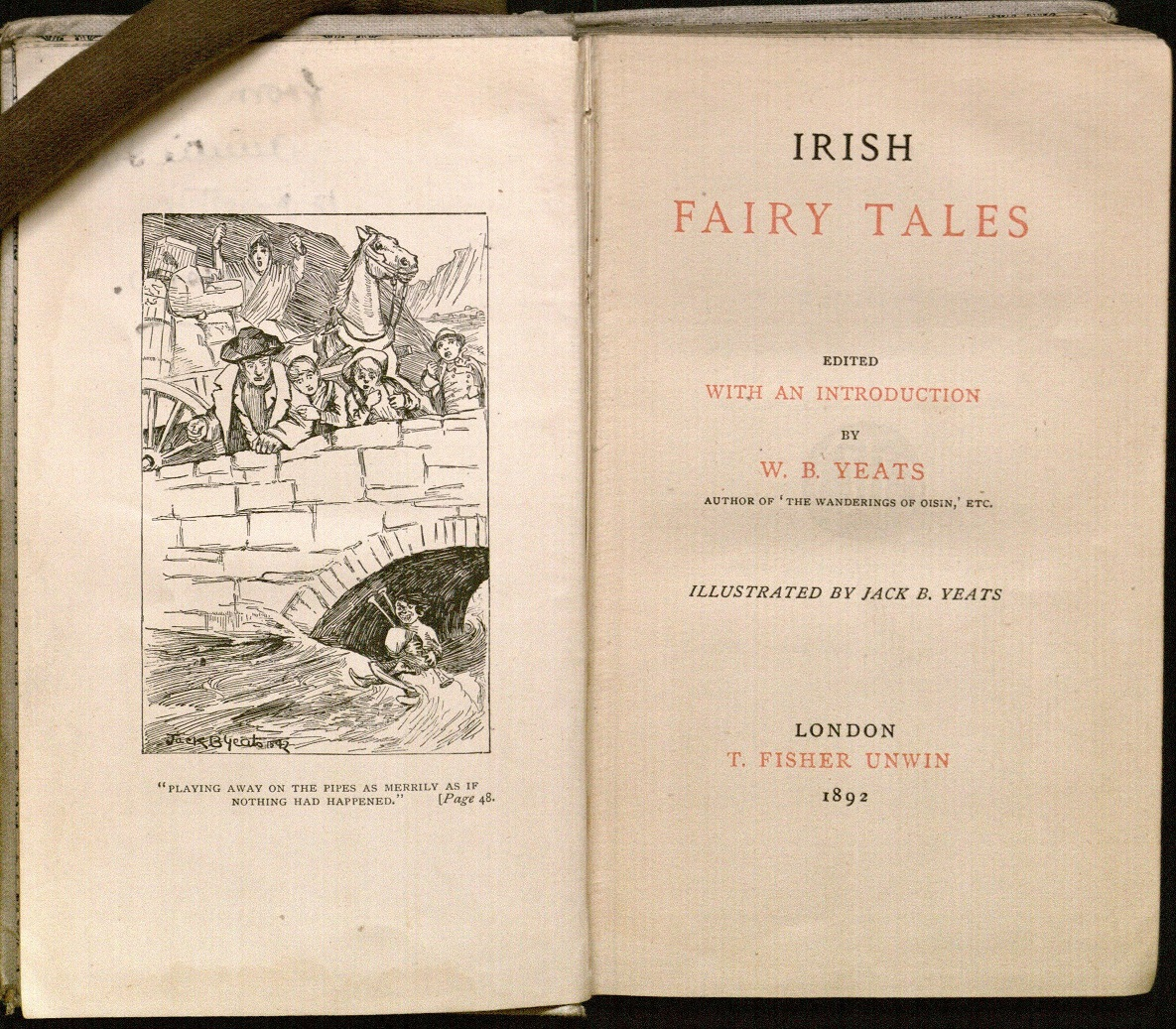 Title page for W. B. Yeats' Irish Fairy Tales (1892), with frontispiece illustration by Yeats's brother, Jack B. Yeats.