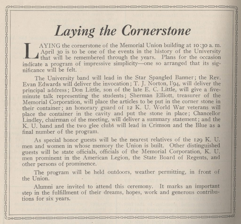 Image of a description of the Union dedication ceremony in the Graduate Magazine, 1926