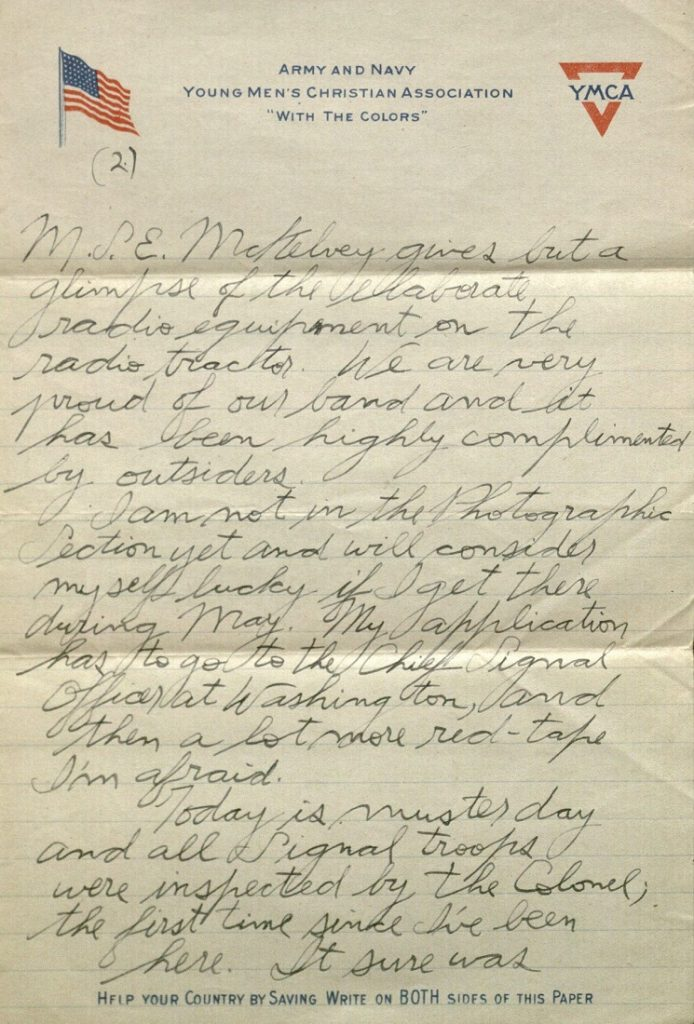Image of Forrest W. Bassett's letter to Ava Marie Shaw, April 30, 1918