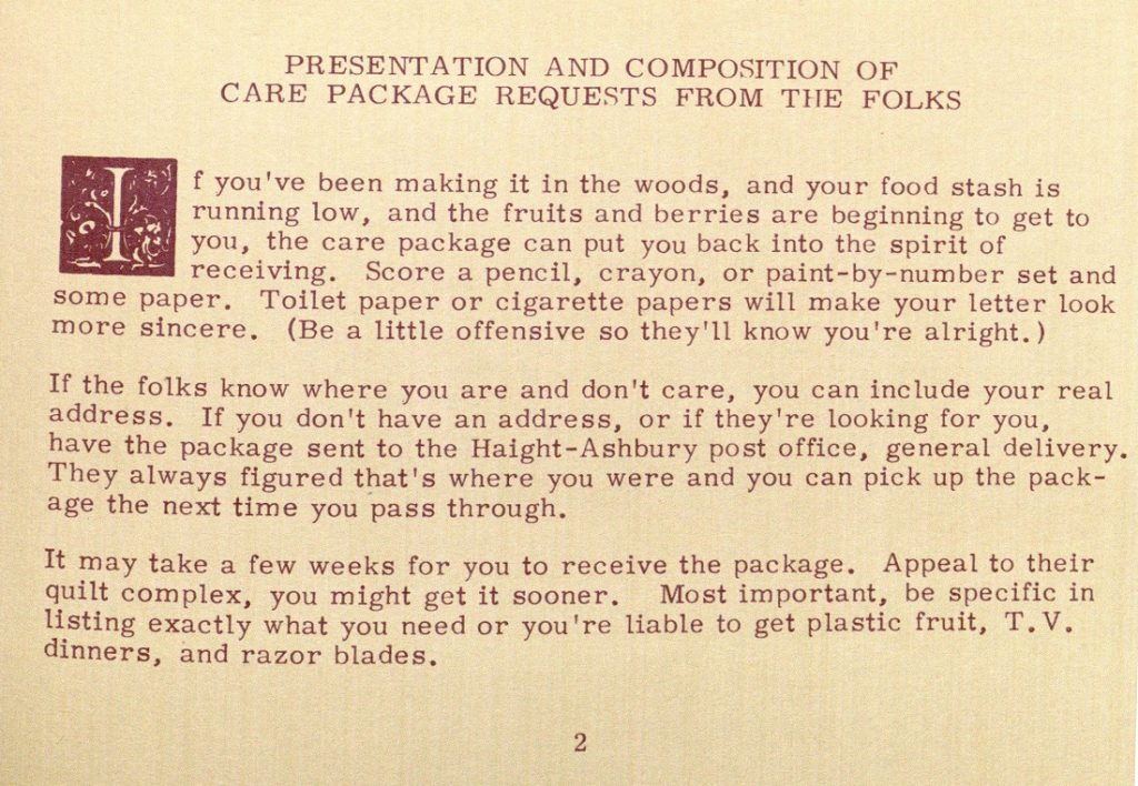 Image showing information about care packages in The Hippie Cookbook, 1970