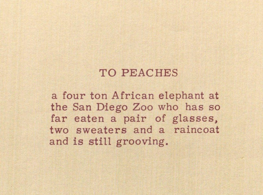 Image of the dedication in The Hippie Cookbook, 1970