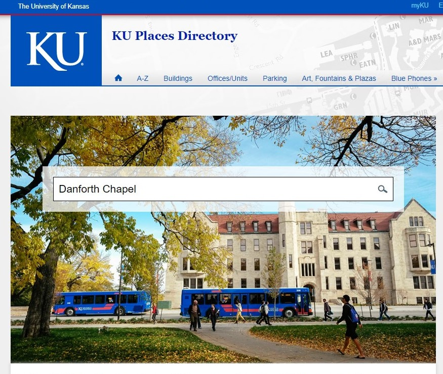 Screenshot of the KU places directory website