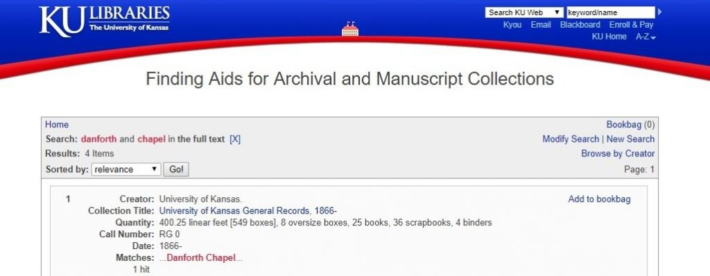 Screenshot of the Spencer Research Library finding aid search results page