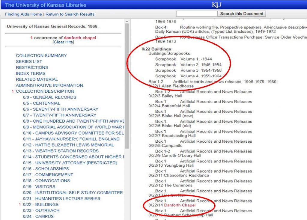 Screenshot of a portion of the finding aid for KU General Records at Spencer Research Library